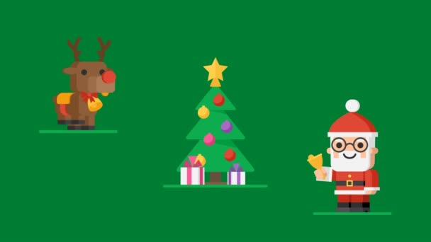 Concept Christmas Characters Santa Claus Reindeer and Snowmen. Motion Graphics. Video Greeting.