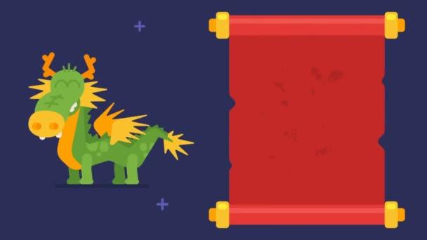Hieroglyf dračí svitek legrační zvířecí znaky čínského horoskopu. Hieroglyf znamená drak