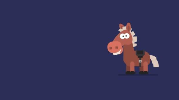 Ló, és a pislákoló csillagok vicces állat karakter kínai horoszkóp. Motion Graphics