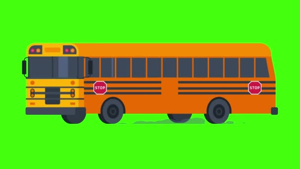 School Bus Rides with Flashing Lights On. Transparent Background. Motion Graphics. Animation Video.