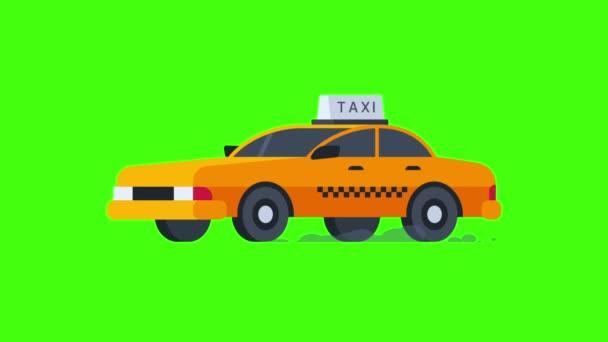 Žluté Taxi jezdí. Průhledné pozadí. Motion grafika. Video animace