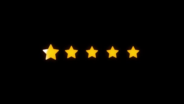 Rated five stars and five hearts animation. Transparent background. Motion graphics