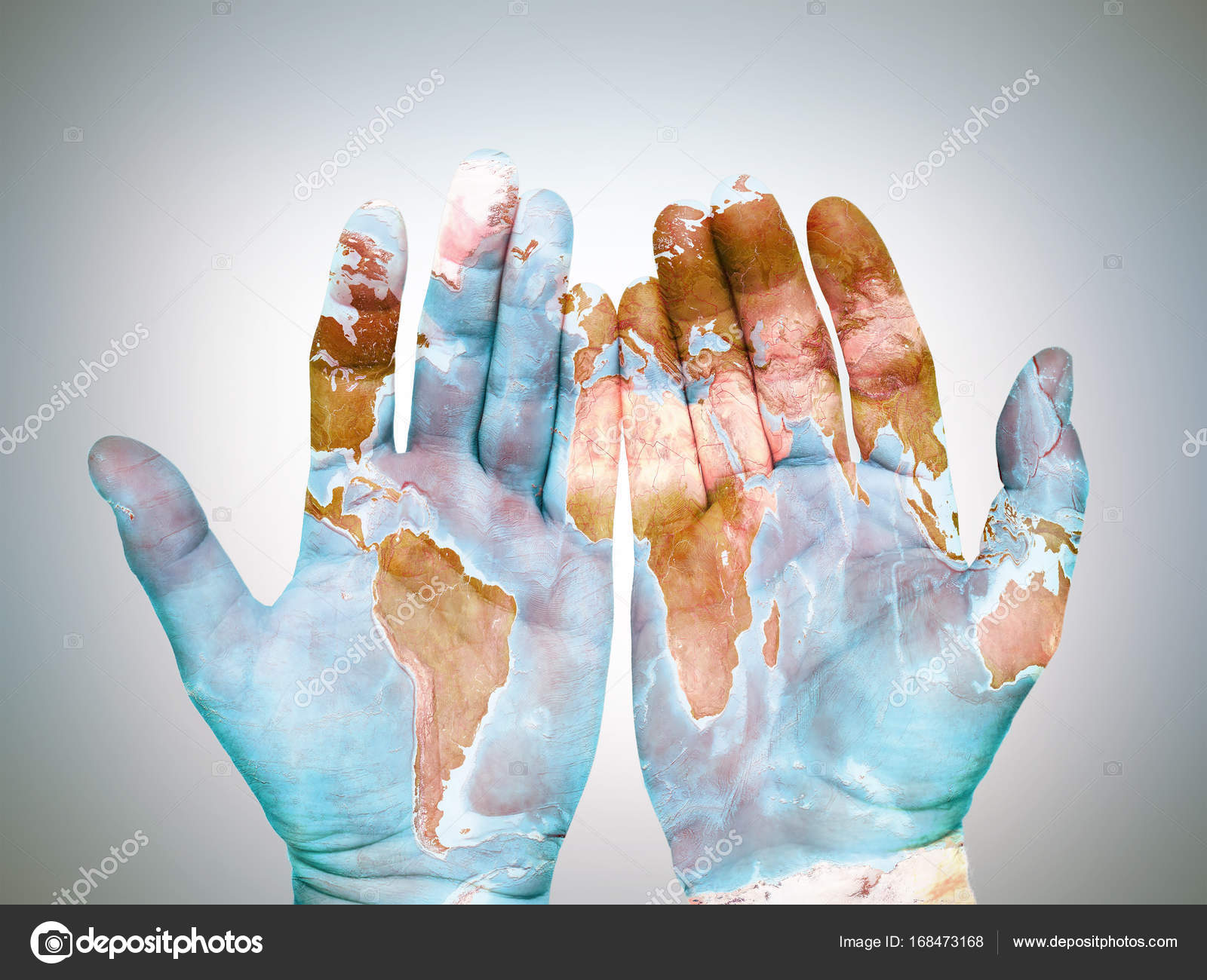 World Map On Hands.Hands With World Map Stock Photo C Pryzmat 168473168