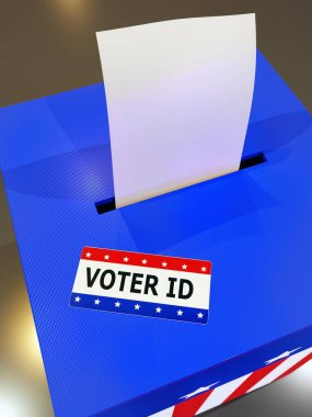 3D rendering of Voter ID card placed on American ballot box
