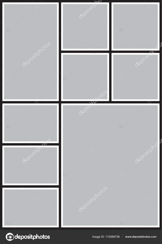 Vector marco para fotografías, collage de fotos, rompecabezas de ...