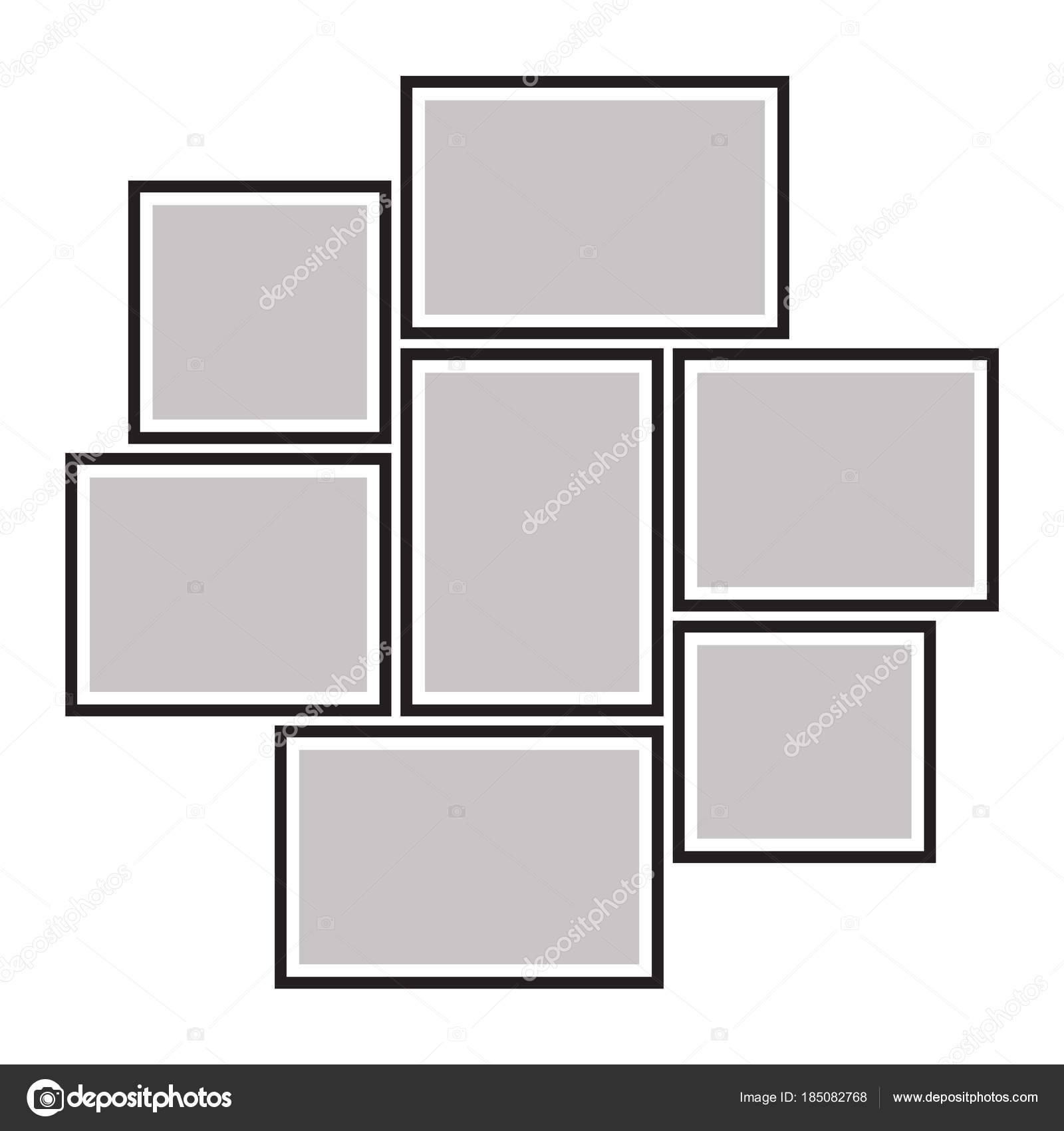 Marco vectorial para fotos, collage de fotos, imágenes, rompecabezas ...