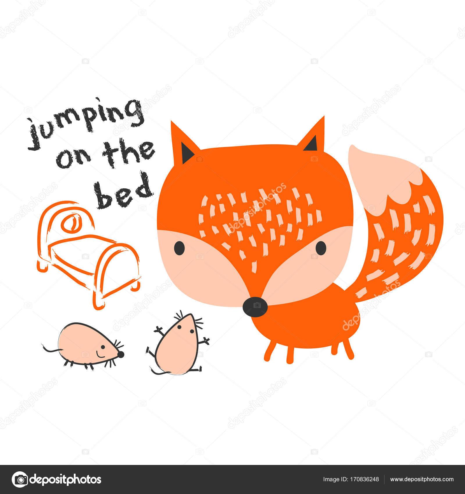 かわいい小さなキツネとマイク ベクトルはフォックス 手描きの野生の