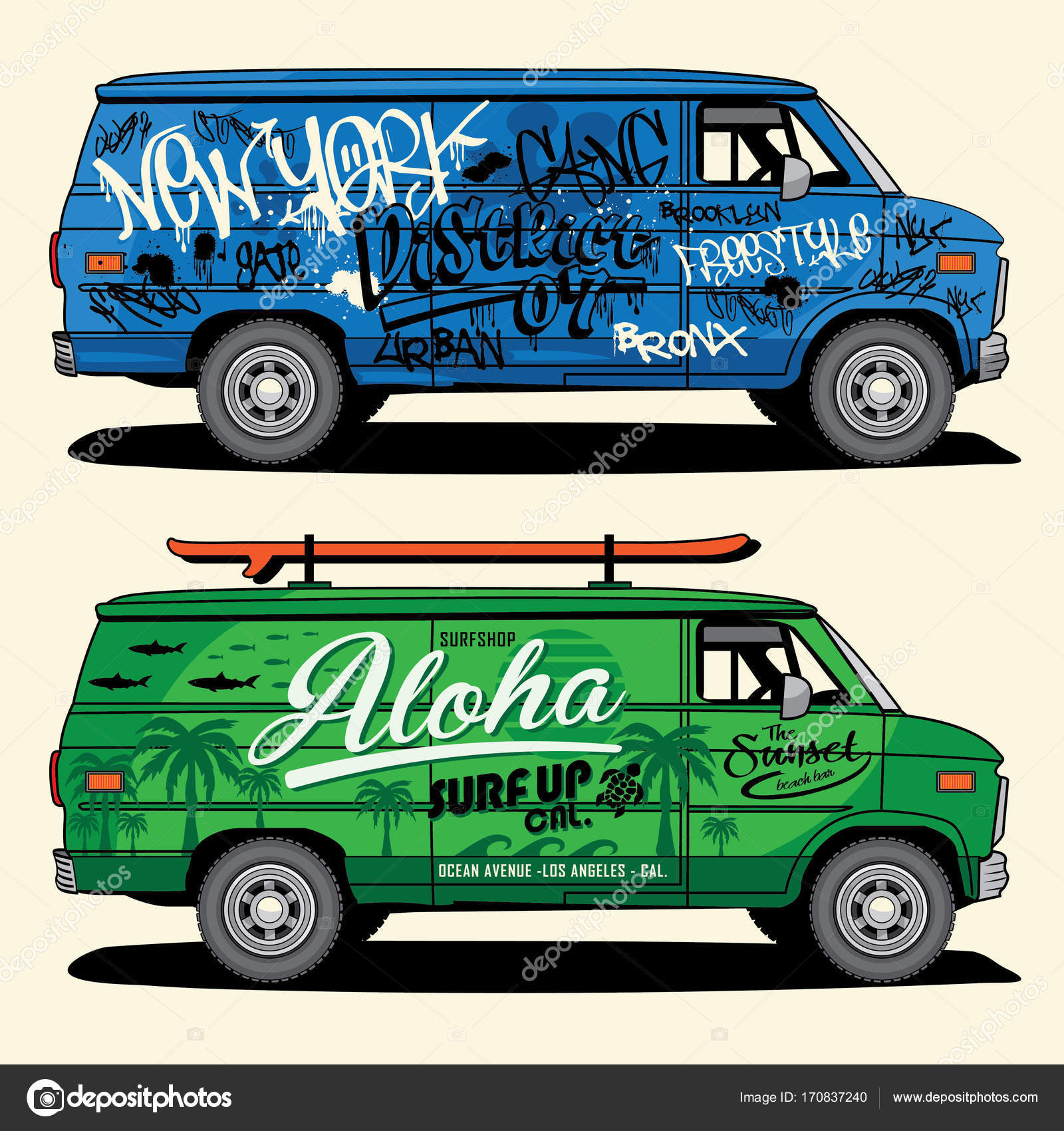 342ba8d36c Van graffiti and surf typography — Stock Vector © Syquallo  170837240