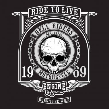 Black and white print design of skull with hell riders banner / Grunge style / Motorcycle, skull and wings themed graphic design for textile and tee shirt