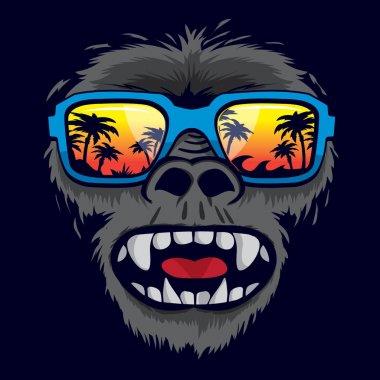 Gorilla monkey tropical sunglasses illustration, t-shirt graphic