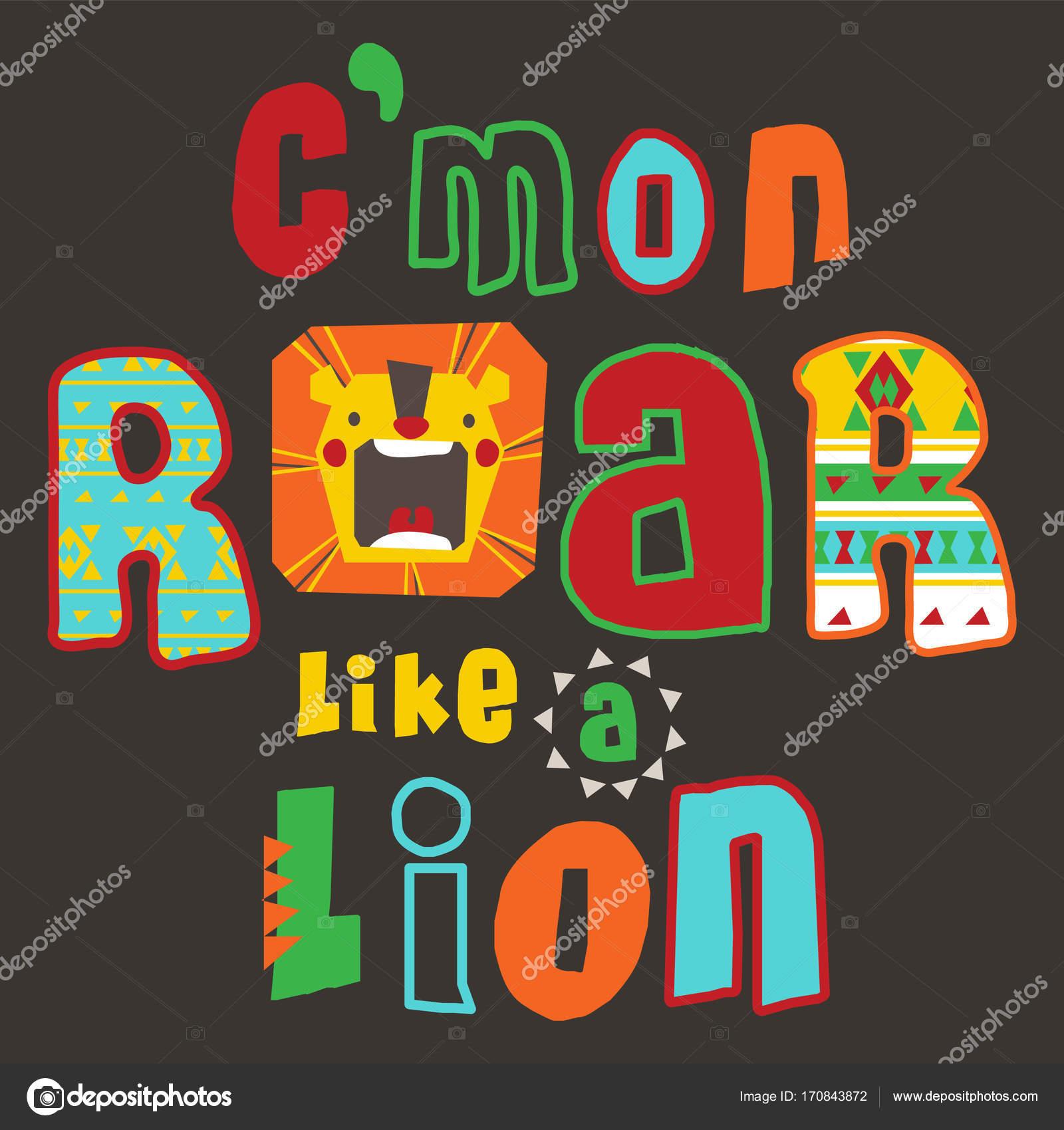Conception Typographie Avec Des Graphismes Lion Shirt Cute