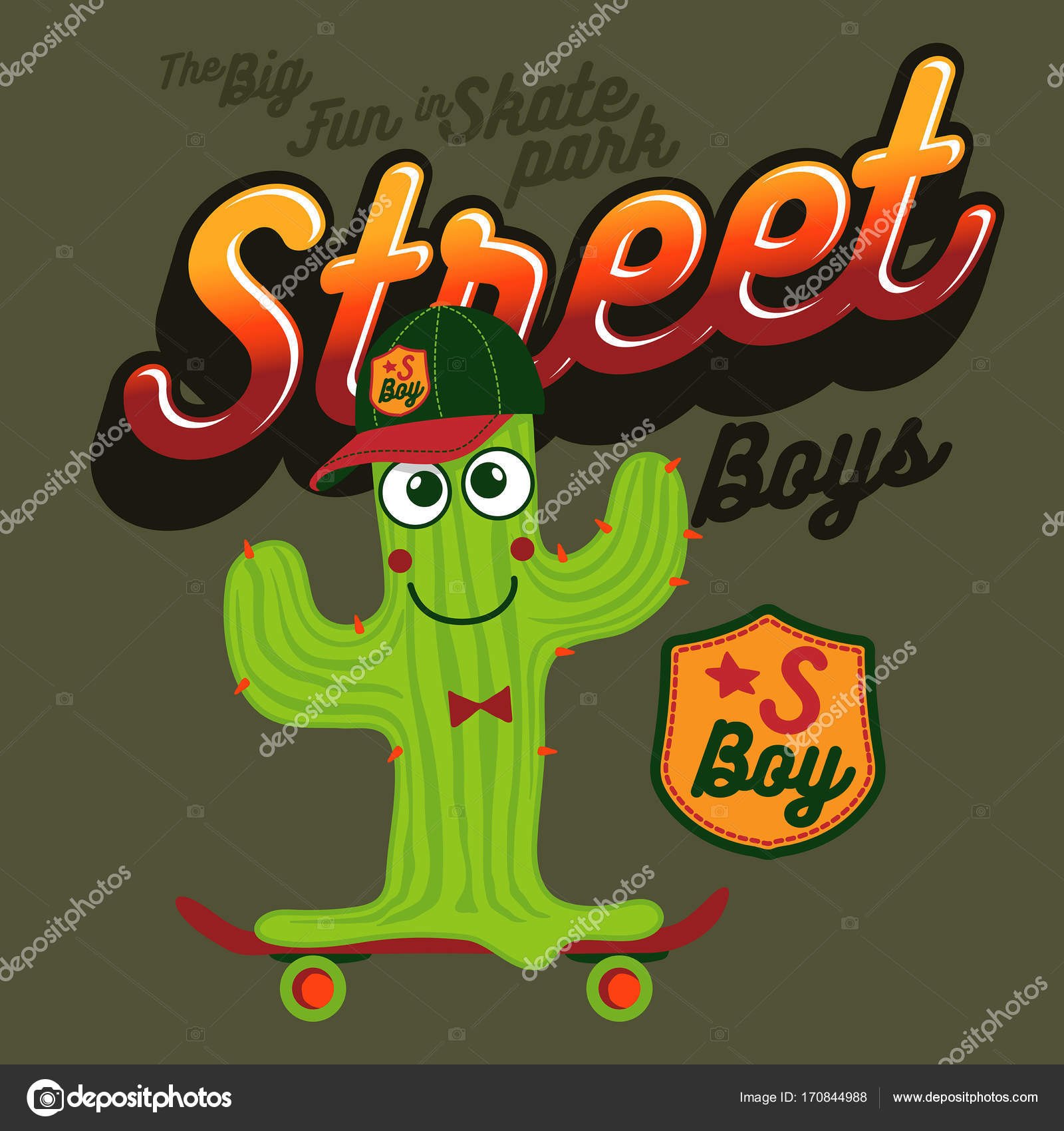 Stastny Mel Zeleny Kaktus Khaki Kresby Design Pro Kupujici