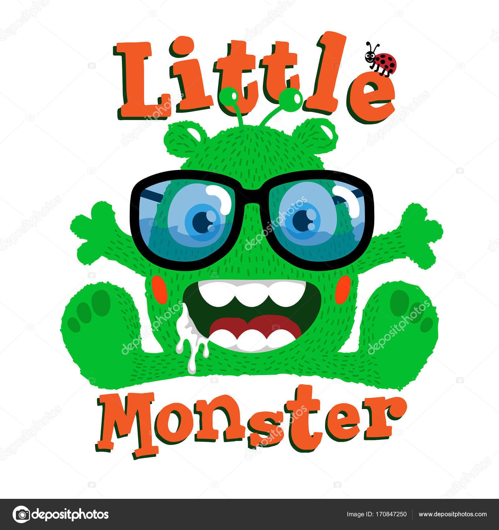 Feliz Verde Monstruo Con Unas Gafas Nerd Diseño Las Ilustraciones ...