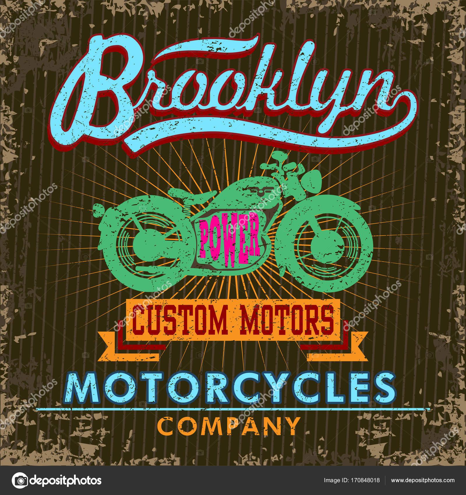 Retro Shirt Print Design Green Motorcycle Graphic Vintage Poster