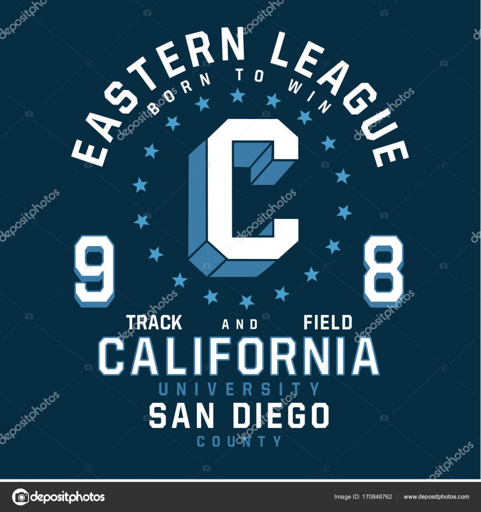 9b2bd3b5d California sport athletic typography, t-shirt graphic — Vector by ...