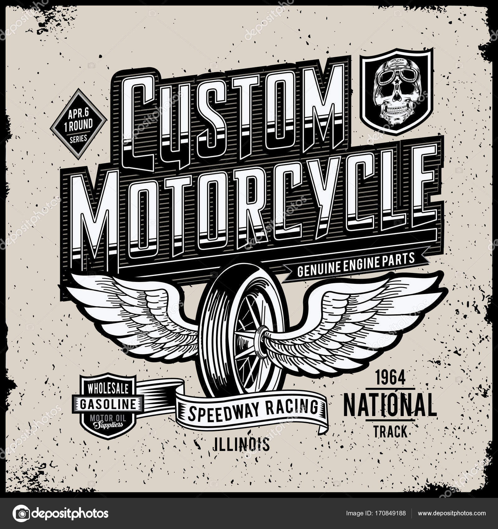 Grunge Kresby Design Opravach Vlastnich Motocyklu Stock Vektor