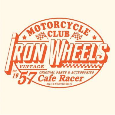 Motorcycle iron wheels typography
