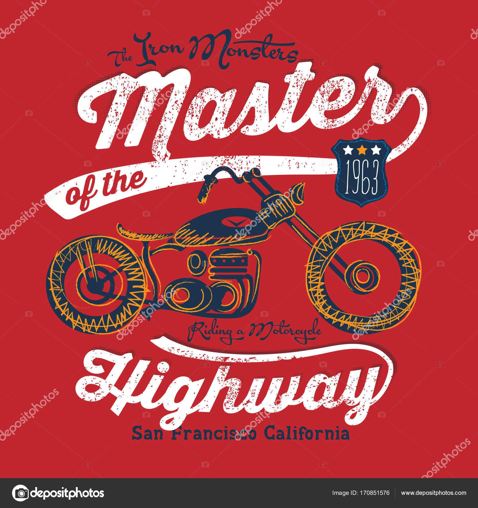 Motorcycle Illustration Embroidery Effect Vintage Shirt Design