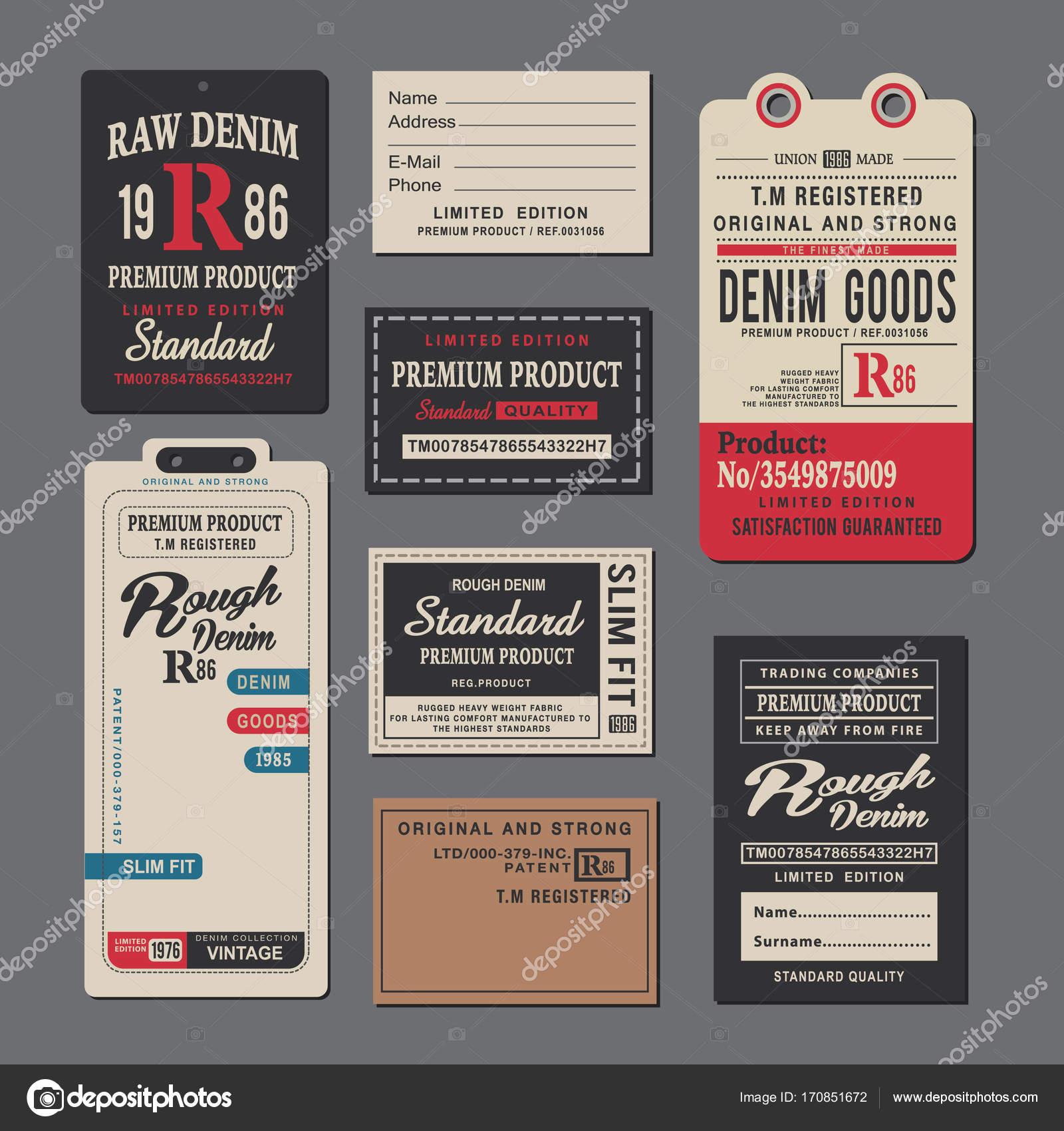 Set Vintage Clothing Tags Retro Labels \u2014 Stock Vector