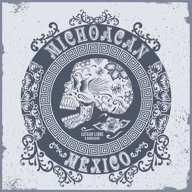 Skull flowers Mexico typography, t-shirt graphics / Vintage effects are easily removable.