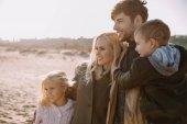 happy family on seashore