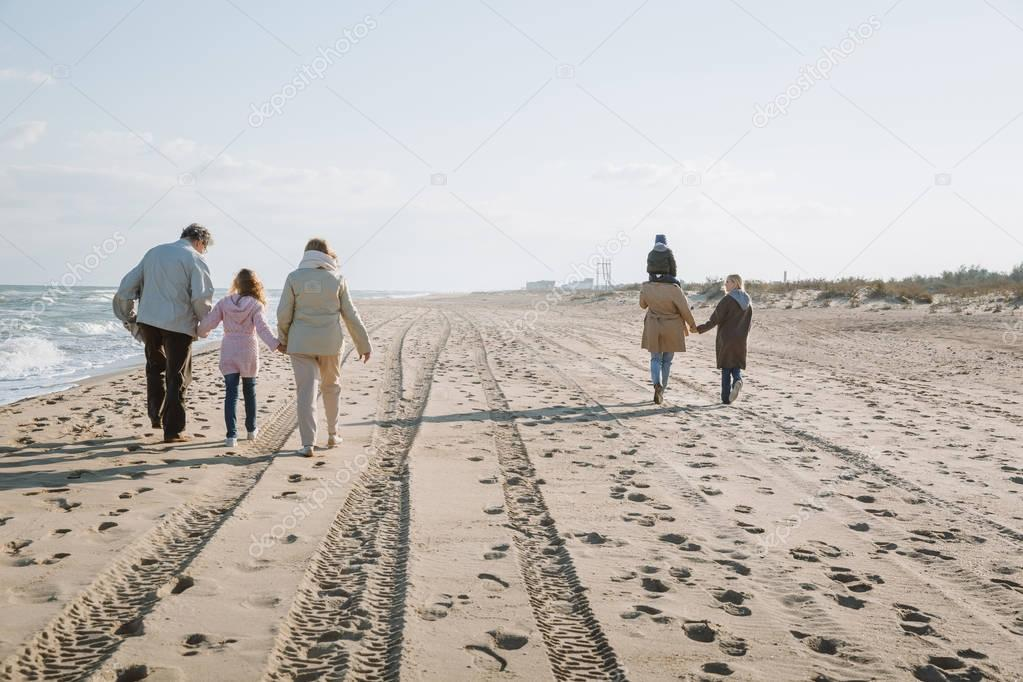 multigenerational family walking together