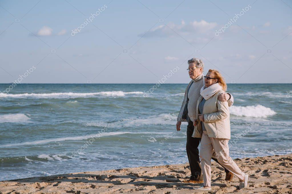 senior couple on seashore