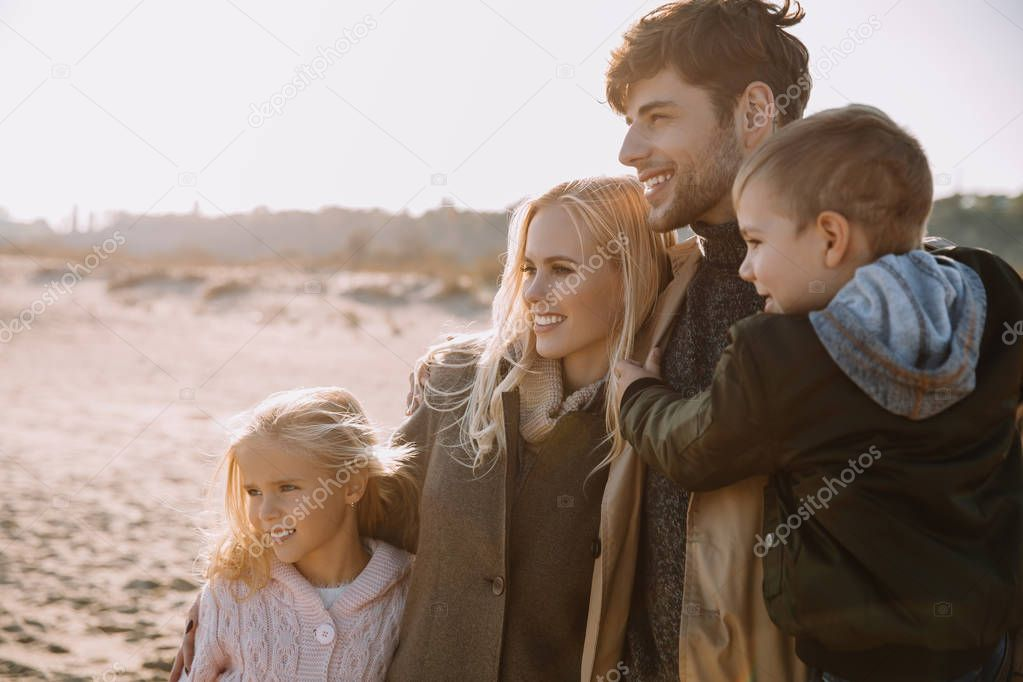 happy family on seashore