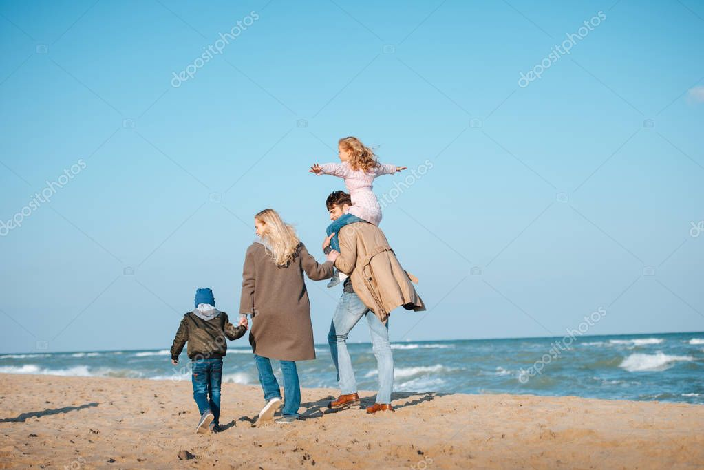 parents walking with kids