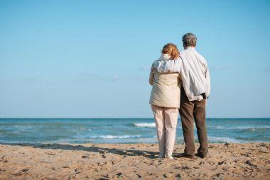 Senior couple embracing on seashore