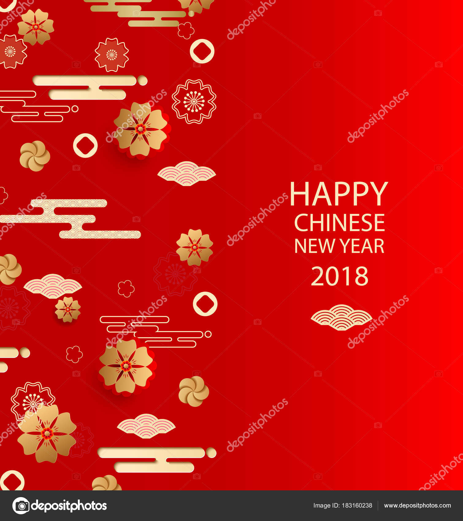 Happy New Yearinese New Year Greeting Card With Traditional Asian