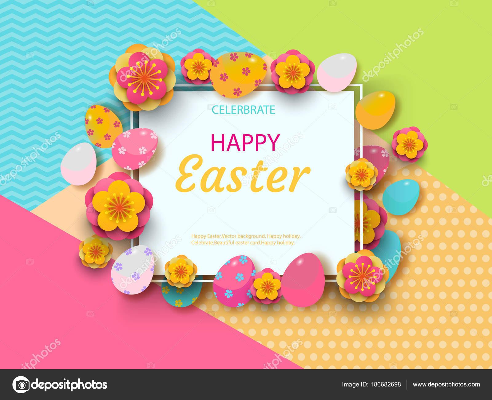 Osterkarte mit quadratischen Rahmen, Frühlingsblumen und flache ...