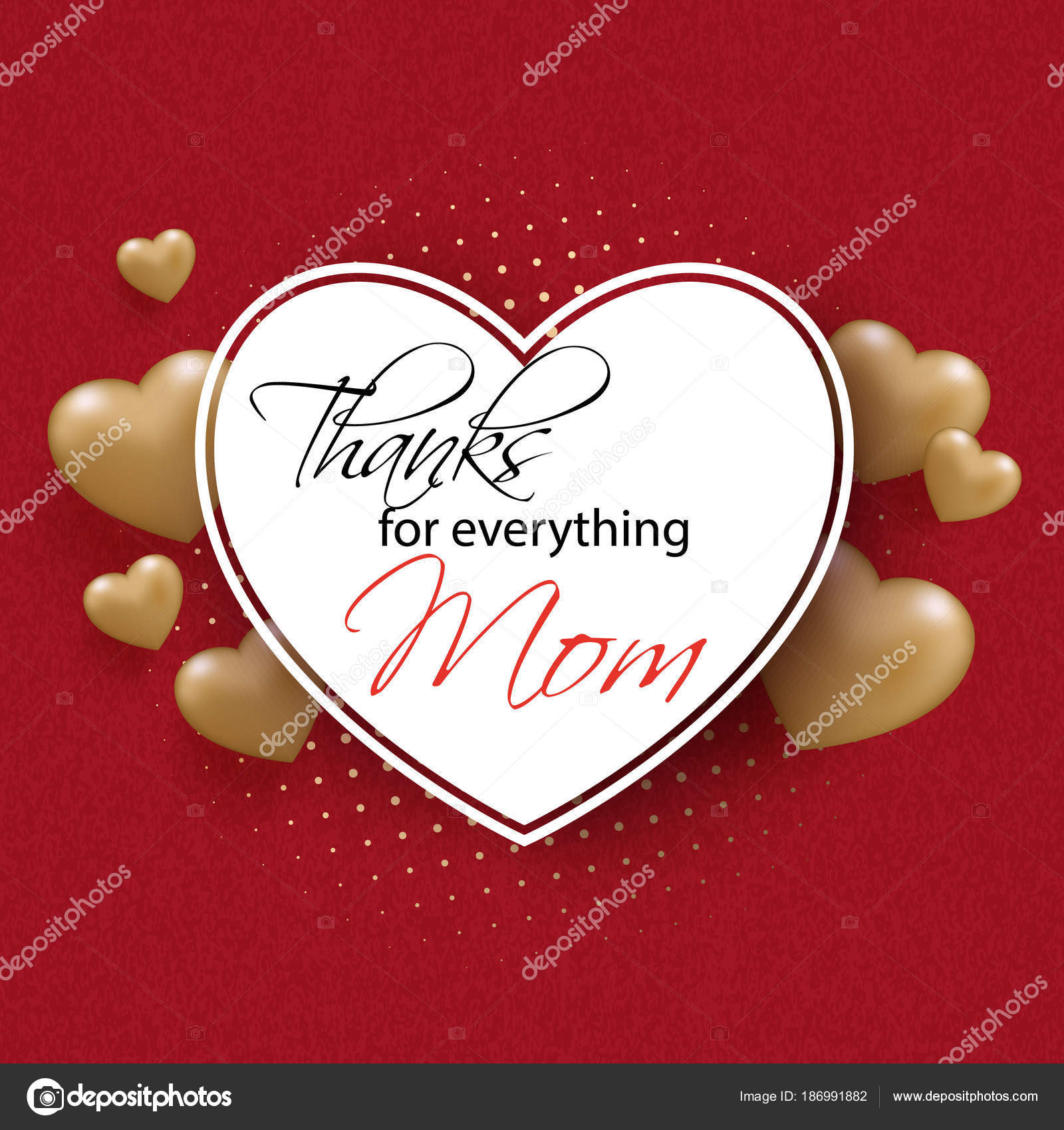 Tarjeta de felicitación día de la madre con corazón de oro y marco ...