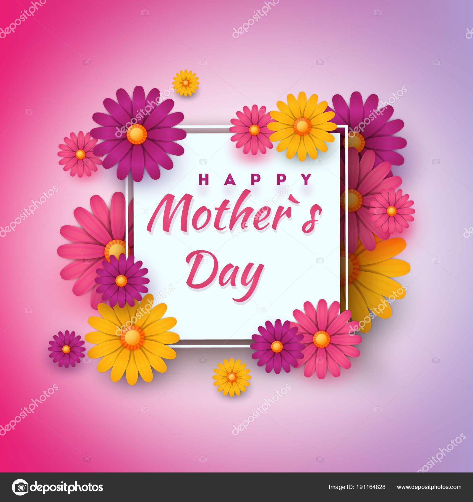 Tarjeta de felicitación del día de la madre con marco cuadrado y ...