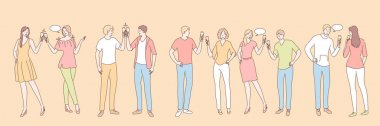 People with alcohol drinks set concept. Group of young people men women boy girls with alcoholic drinks beverages together. Collection of happy talking students friends with champagne. Party lifestyle icon