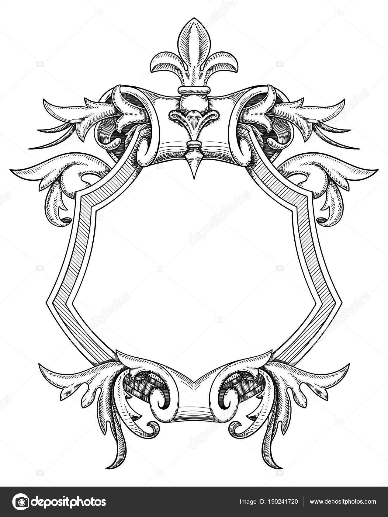 Dibujo de escudo barroco — Archivo Imágenes Vectoriales ...