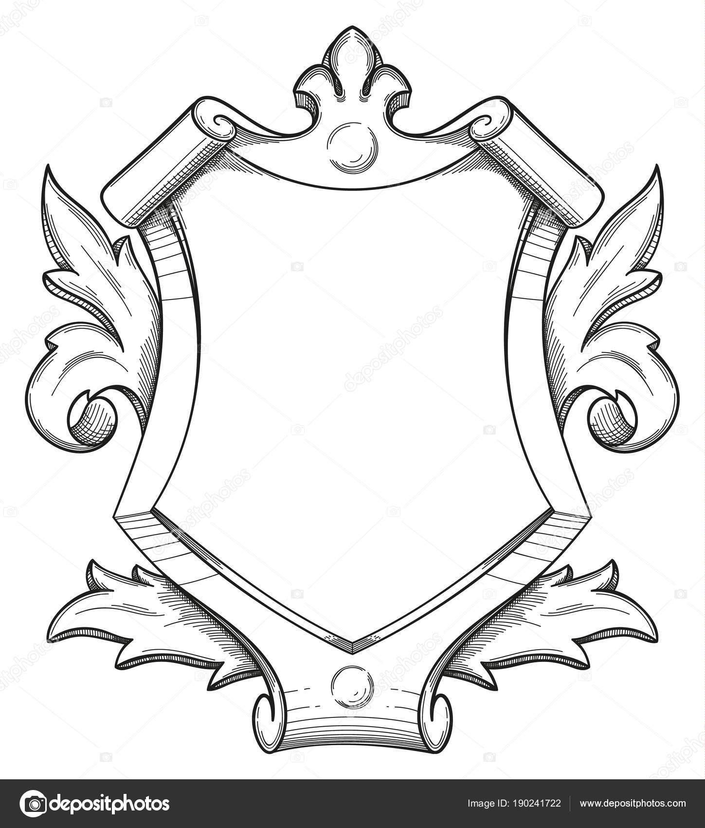 Dibujo de escudo barroco — Vector de stock © zayatsandzayats #190241722