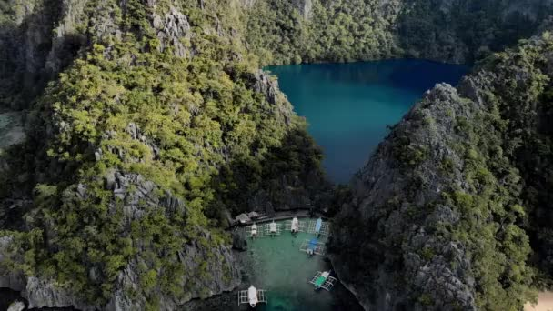 Aerial view of turquoise tropical lagoon with Karst limestone cliffs in Coron Island, Palawan, Philippines. UNESCO World Heritage Tentative List, Baracuda Lake