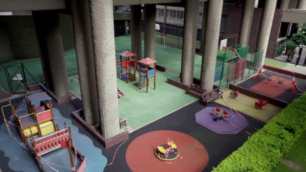 London / UK - 05/16/2020:  Barbican Playground closed as people self isolate during COVID-19 coronavirus pandemic.