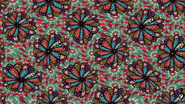 Mandala style. Rich ethnic striped seamless pattern geometric design. Colored mandala on green, black and red colors. Video.