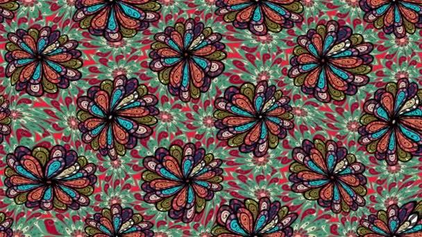 Mandala styl. Bohaté etnické pruhovaný vzor bezešvé geometrický design. Barevné mandaly na zelené, černé a červené barvy. Video.
