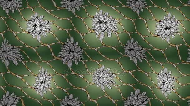 Paisleys elegant floral video pattern background wallpaper illustration with vintage stylish beautiful modern line art gold and green, white and neutral paisley flowers leaves and ornaments.