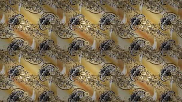 Video goldenen Blumenschmuck Brokat Textilmuster. Metall mit floralem Muster. goldenes Muster. beige, gelb und schwarz mit goldenen Elementen.