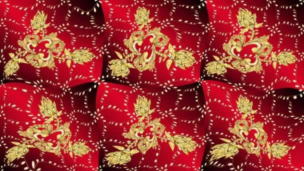 klassischer Vintage-Hintergrund. klassisches goldenes Video-Muster. traditionelle orientalische Ornamente. Muster auf roten, braunen und gelben Farben mit goldenen Elementen.