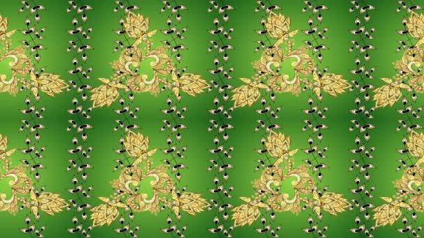 Vánoce, vločka, nový rok. Retro vzor na zelené, žluté barvy přechodu se zlatými prvky