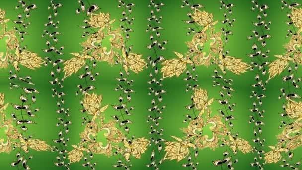 Natale, fiocco di neve, Capodanno. Reticolo dellannata su gradienti di colore verdi, gialli con gli elementi dorati.