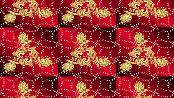 goldenes Muster auf rotem Hintergrund
