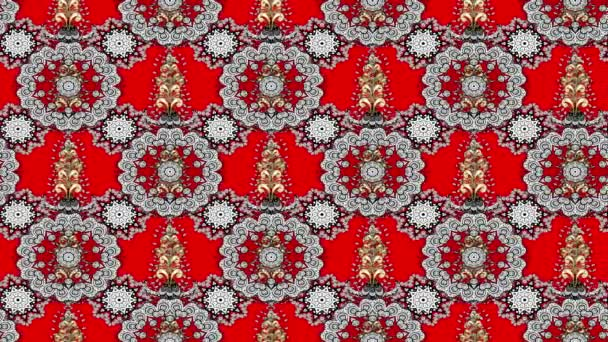 White moving pattern on red background