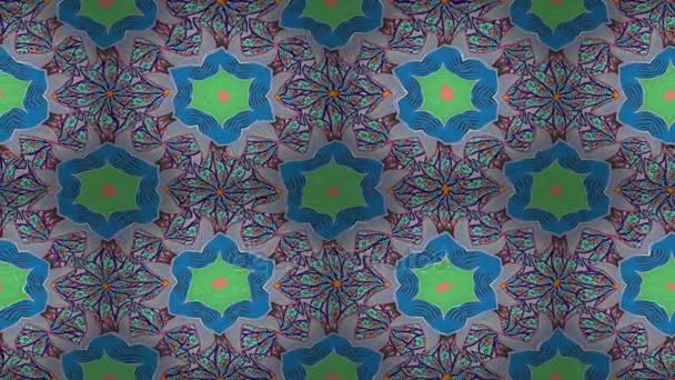 Video Mandala vzor na modré, béžové a fialové barvy. Východ, islám. Arabský Vintage dekorativní ornament. Mandaly barevné pozadí. Smyčka