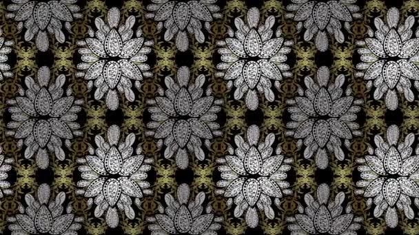 Bezproblémové royal luxusní zlatý barokní damaškové ročník. Video vzorek pozadí tapetu zlaté starožitné květinové středověká dekorativní květy, listy a zlaté vzor ornamenty na barvy. Smyčka